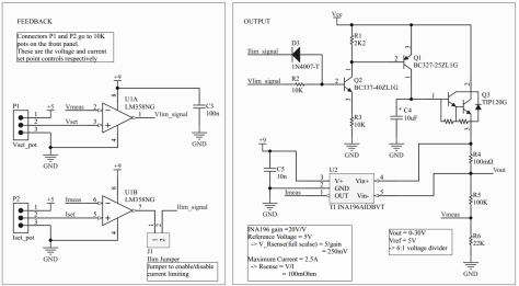 Schematic of the feedback and output circuits